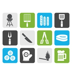 Flat picnic barbecue and grill icons vector