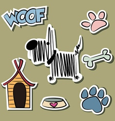 Funny Dog and accessory sticker set vector image