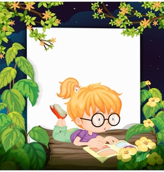 A reading girl vector image