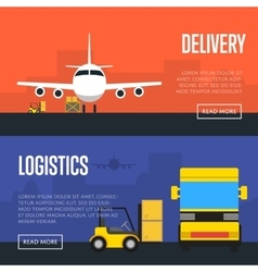 Delivery and logistics banner set vector