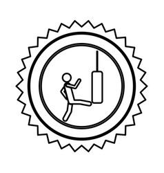 Emblem person kicking a punching bag vector