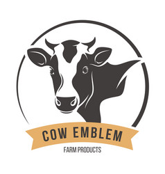 Cow head silhouette emblem label vector
