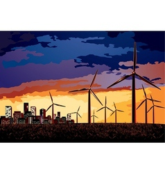 Electrical windmill over evening cityscape scene vector