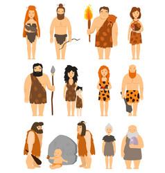cartoon primitive people character set vector image