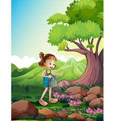 A girl watering the plants near the rocks vector