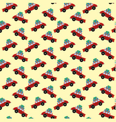 Car with luggage pattern vector