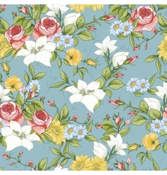 Seamless pattern with vintage wildflowers vector