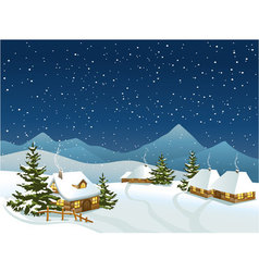 Winter rural landscape with mountains vector