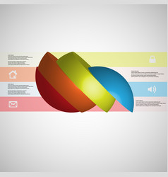 3d infographic template with ball sliced to four vector