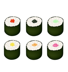 Set of Tobiko Roe Sushi on White Background vector image