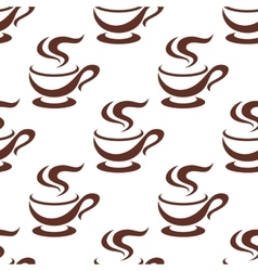 Seamless steaming cappuccino cups pattern vector