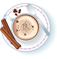 Coffee cup with cappuccino vector