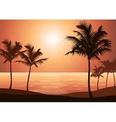 Beautiful summer sunset by the beach vector