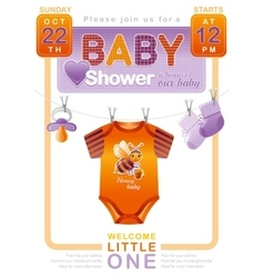 Unisex baby shower invitation design with body vector