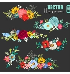 Set of beautiful floral bouquets vector