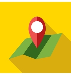 Map with pin pointer icon flat style vector