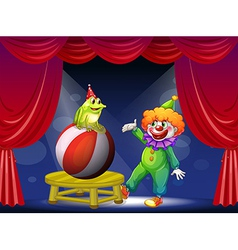 A clown and a frog performing on stage vector image vector image