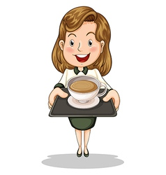A happy businesswoman holding a tray with a cup of vector image vector image