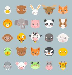 Animals cute baby cartoon cubs flat design head vector