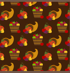 Autumn fruit and cornucopia pattern vector