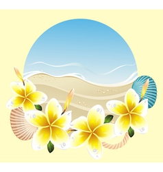 background with frangipani vector image