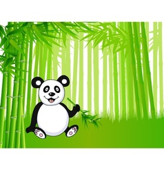 Bamboo and panda vector image