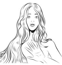 beautiful woman with long hair qestuing no or stop vector image