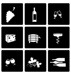 black wine icon set vector image