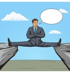 Businessman sitting on split between rocks pop art vector