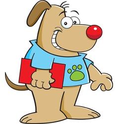 Cartoon dog holding a book vector image vector image