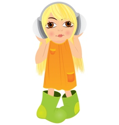 Cartoon girl headphone vector image vector image