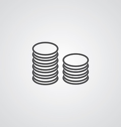Coins symbol outline symbol dark on white vector