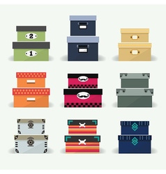 colorful organizer boxes icon sets on gray vector image vector image