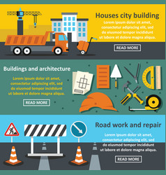 construct work banner horizontal set flat style vector image vector image