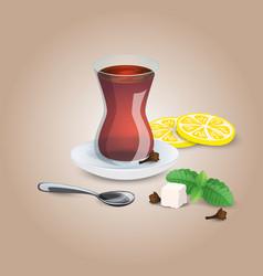 Cup of tea black mint lemon tea tea spoon i vector