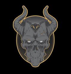Decrepit evil cartoon skull with horns vector