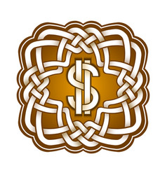 Dollar logo in celtic knots style stylish tattoo vector