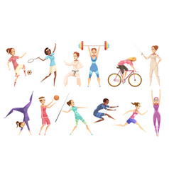 Female athletes doodle collection vector