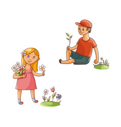 Flat boy and girl collecting field flowers vector