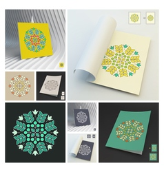 Floral elements textbook booklet notebook mockup vector