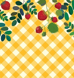 Food background with strawberry and plaid pattern vector image vector image