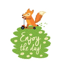 Funny card with cute fox in cartoon style vector image vector image