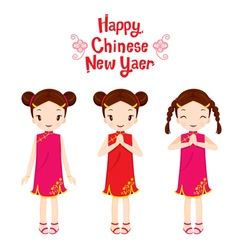 Girl In Cheongsam Set vector image vector image