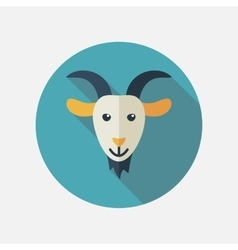 Goat flat icon with long shadow vector