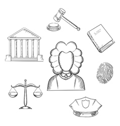 Law judge and justice sketched icons vector