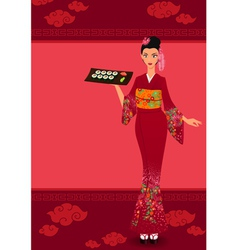 Menu template with young japanese girl and vector image