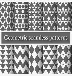 Monochrome geometric seamless patterns set vector