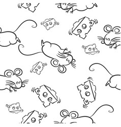 Mouse and cheese pattern style vector