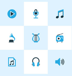 Music colored icons set collection of play vector