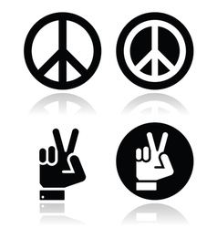 Peace hand gesture icons set vector image